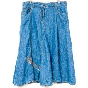 Maxi Denim Skirt 16 Blue Jean Long Modest ALine